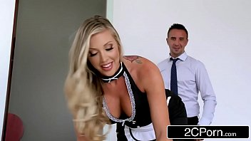 boss indian lady fucking her with Horny blonde slut gags on thick long black cock