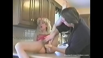 then sucks blonde from babe cock behind fucked Woman laying down one leg up