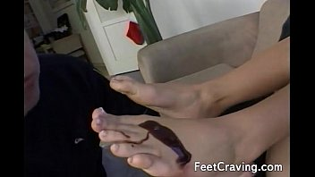 licks girl her feet Granny riding sybian
