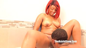 lady double sonia dildo red and Jerking and pumping on the big fat black cock